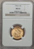 Liberty Half Eagles: , 1902-S $5 MS63 NGC. NGC Census: (508/668). PCGS Population(605/599). Mintage: 939,000. Numismedia Wsl. Price for problem f...