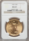 Saint-Gaudens Double Eagles: , 1924 $20 MS64+ NGC. NGC Census: (100997/36922). PCGS Population(81029/47441). Mintage: 4,323,500. Numismedia Wsl. Price fo...