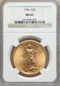 Saint-Gaudens Double Eagles: , 1926 $20 MS63 NGC. NGC Census: (6468/12808). PCGS Population(6188/11858). Mintage: 816,750. Numismedia Wsl. Price for prob...