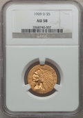 Indian Half Eagles: , 1909-D $5 AU58 NGC. NGC Census: (3145/26514). PCGS Population(2471/24978). Mintage: 3,423,560. Numismedia Wsl. Price for p...