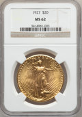 Saint-Gaudens Double Eagles: , 1927 $20 MS62 NGC. NGC Census: (19912/112001). PCGS Population(19225/111428). Mintage: 2,946,750. Numismedia Wsl. Price fo...