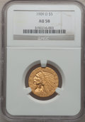 Indian Half Eagles: , 1909-D $5 AU58 NGC. NGC Census: (3146/26521). PCGS Population(2471/24969). Mintage: 3,423,560. Numismedia Wsl. Price for p...