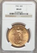 Saint-Gaudens Double Eagles: , 1922 $20 MS63 NGC. NGC Census: (20157/8043). PCGS Population(14006/8479). Mintage: 1,375,500. Numismedia Wsl. Price for pr...