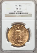 Saint-Gaudens Double Eagles: , 1923 $20 MS61 NGC. NGC Census: (2563/24965). PCGS Population(1435/19317). Mintage: 566,000. Numismedia Wsl. Price for prob...