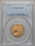 Indian Half Eagles: , 1915 $5 AU58 PCGS. PCGS Population (721/3232). NGC Census:(1177/4606). Mintage: 588,075. Numismedia Wsl. Price for problem...