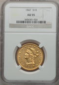 Liberty Eagles: , 1847 $10 AU55 NGC. NGC Census: (170/224). PCGS Population (35/45).Mintage: 862,258. Numismedia Wsl. Price for problem free...