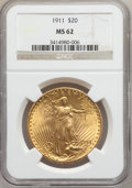 Saint-Gaudens Double Eagles: , 1911 $20 MS62 NGC. NGC Census: (915/956). PCGS Population(674/1228). Mintage: 197,200. Numismedia Wsl. Price for problemf...