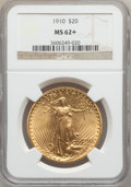 Saint-Gaudens Double Eagles: , 1910 $20 MS62+ NGC. NGC Census: (3246/3236). PCGS Population(2139/3619). Mintage: 482,000. Numismedia Wsl. Price for probl...
