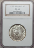 Commemorative Silver: , 1935-D 50C Arkansas MS66 NGC. NGC Census: (103/25). PCGS Population(189/40). Mintage: 5,505. Numismedia Wsl. Price for pro...