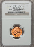 Errors, (1980-P) 5C Jefferson Nickel -- Struck on a 1C Blank Planchet --MS64 Red NGC. 3.1 grams....