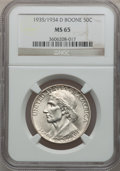 Commemorative Silver: , 1935/34-D 50C Boone MS65 NGC. NGC Census: (157/176). PCGSPopulation (240/234). Mintage: 2,003. Numismedia Wsl. Price forp...
