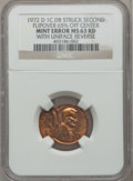 Errors, 1972-D 1C Lincoln Cent -- Double Struck, Second Strike Flipover 65%Off Center, With Uniface Reverse -- MS63 Red NGC....