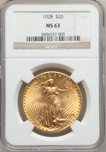 Saint-Gaudens Double Eagles: , 1928 $20 MS63 NGC. NGC Census: (14992/20968). PCGS Population(12721/24884). Mintage: 8,816,000. Numismedia Wsl. Price for ...