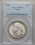 Commemorative Silver: , 1937 50C Boone MS67 PCGS. PCGS Population (76/3). NGC Census:(54/0). Mintage: 9,810. Numismedia Wsl. Price for problem fre...