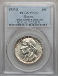 Commemorative Silver: , 1937-S 50C Boone MS65 PCGS. PCGS Population (218/169). NGC Census:(242/188). Mintage: 2,506. Numismedia Wsl. Price for pro...