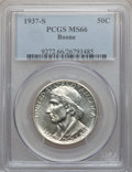 Commemorative Silver: , 1937-S 50C Boone MS66 PCGS. PCGS Population (131/38). NGC Census:(156/32). Mintage: 2,506. Numismedia Wsl. Price for probl...