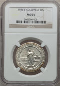 Commemorative Silver: , 1936-S 50C Columbia MS64 NGC. NGC Census: (196/1261). PCGSPopulation (537/1260). Mintage: 8,007. Numismedia Wsl. Price for...