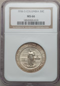 Commemorative Silver: , 1936-S 50C Columbia MS66 NGC. NGC Census: (609/124). PCGSPopulation (481/81). Mintage: 8,007. Numismedia Wsl. Price forpr...