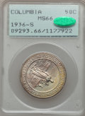 Commemorative Silver: , 1936-S 50C Columbia MS66 PCGS. CAC. PCGS Population (481/81). NGCCensus: (609/124). Mintage: 8,007. Numismedia Wsl. Price ...