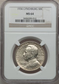 Commemorative Silver: , 1936 50C Lynchburg MS64 NGC. NGC Census: (741/1532). PCGSPopulation (1309/1944). Mintage: 20,013. Numismedia Wsl. Pricefo...
