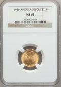 Commemorative Gold: , 1926 $2 1/2 Sesquicentennial MS63 NGC. NGC Census: (1445/4075).PCGS Population (2365/6269). Mintage: 46,019. Numismedia Ws...
