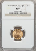 Commemorative Gold: , 1926 $2 1/2 Sesquicentennial MS64 NGC. NGC Census: (2852/1223).PCGS Population (4270/1999). Mintage: 46,019. Numismedia Ws...