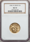 Modern Issues: , 1986-W G$5 Statue of Liberty Gold Five Dollar MS70 NGC. NGC Census:(2007). PCGS Population (308). Mintage: 95,248. Numisme...