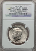 Errors, 1980-P 50C Kennedy Half Dollar -- Struck 15% Off Center, ObverseWheel Mark -- NGC Details. Unc....