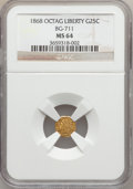 California Fractional Gold: , 1868 25C Liberty Octagonal 25 Cents, BG-711, R.4, MS64 NGC. NGCCensus: (3/11). PCGS Population (24/25). ...