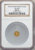 California Fractional Gold: , 1876 25C Indian Round 25 Cents, BG-850, Low R.6, MS64 NGC. NGCCensus: (1/0). PCGS Population (2/3). ...