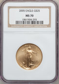 Modern Bullion Coins, 2005 G$25 Half-Ounce Gold Eagle MS70 NGC. NGC Census: (3737). PCGSPopulation (373). Numismedia Wsl. Price for problem fre...