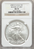 Modern Bullion Coins, 2008-W $1 Silver Eagle, Reverse of 2007 MS70 NGC. NGC Census:(4181). PCGS Population (228). Numismedia Wsl. Price for pro...