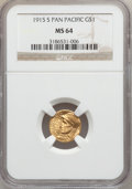 Commemorative Gold: , 1915-S G$1 Panama-Pacific Gold Dollar MS64 NGC. NGC Census:(1078/1447). PCGS Population (1659/1985). Mintage: 15,000. Numi...