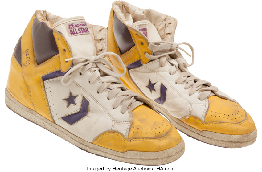 1986-87 Magic Johnson Game Worn Converse Shoes - From Los  d1bb64465