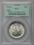 Commemorative Silver: , 1936 50C Texas MS67 PCGS. PCGS Population (125/7). NGC Census:(125/6). Mintage: 8,911. Numismedia Wsl. Price for problem f...