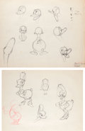 Animation Art:Production Drawing, Don Donald Donald Duck Production Drawing Group (WaltDisney, 1937).... (Total: 2 Original Art)