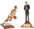 Basketball Collectibles:Others, John Wooden & Bob Cousy Signed Gartlan Statues. ...