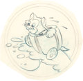 "Animation Art:Production Drawing, Hank Porter ""Beach Head Figaro"" WWII Insignia Preliminary Illustration (Walt Disney, c. 1942)...."