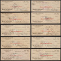 Miscellaneous Collectibles:General, George Burns Signed Checks Lot of 10....