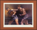 Boxing Collectibles:Autographs, 1973 Joe Louis & Max Schmeling Signed Sports IllustratedLithograph. ...