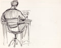"Animation Art:Production Drawing, Chuck Jones ""Man at Typewriter"" Drawing (1960s)...."