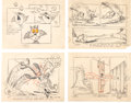 Animation Art:Production Drawing, Terrytoons Catnip Production Drawings (Terrytoons,1940s).... (Total: 4 )