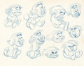 "animation art:Model Sheet, Fred Moore ""Reason and Emotion"" Model Sheet (Walt Disney, 1943)...."
