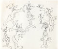 animation art:Model Sheet, Duck Dodgers and the Return of the 24 1/2th Century OriginalModel Sheet of Daffy Duck Plus Printed Model Sheet Group ...(Total: 5 Items)