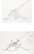 Animation Art:Production Drawing, Bugs Bunny Bustin' Out All Over Wile E. Coyote Rough DrawingGroup (Warner Brothers, 1980)....