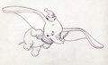 Animation Art:Production Drawing, Alex Ignatiev Dumbo and Timothy Mouse Pencil Drawing (Disney,1960s)....