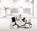 Animation Art:Production Cel, Traffic Troubles Mickey Mouse Black and White Nitrate Production Cel with Presentation Background (Walt Disney, 19...