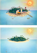 "Animation Art:Production Drawing, Terrytoons ""Islands"" Production Background Paintings (Terrytoons,1940s).... (Total: 2 Items)"
