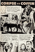 """Original Comic Art:Complete Story, Eugene Hughes Mister Mystery #14 Complete 6-Page Story """"TheCorpse in the Coffin"""" (Published Title """"True Love"""") Or..."""