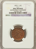 Half Cents, 1853 1/2 C -- Improperly Cleaned -- NGC Details. UNC. C-1. NGCCensus: (3/664). PCGS Population (6/394). Mintage: 129,6...
